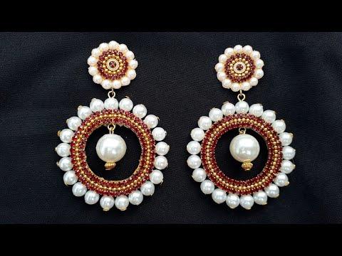 how-to-make-designer-pearls-earrings-|-diy-|-chandibali-earrings-|-paper-earrings-|jewellery-making