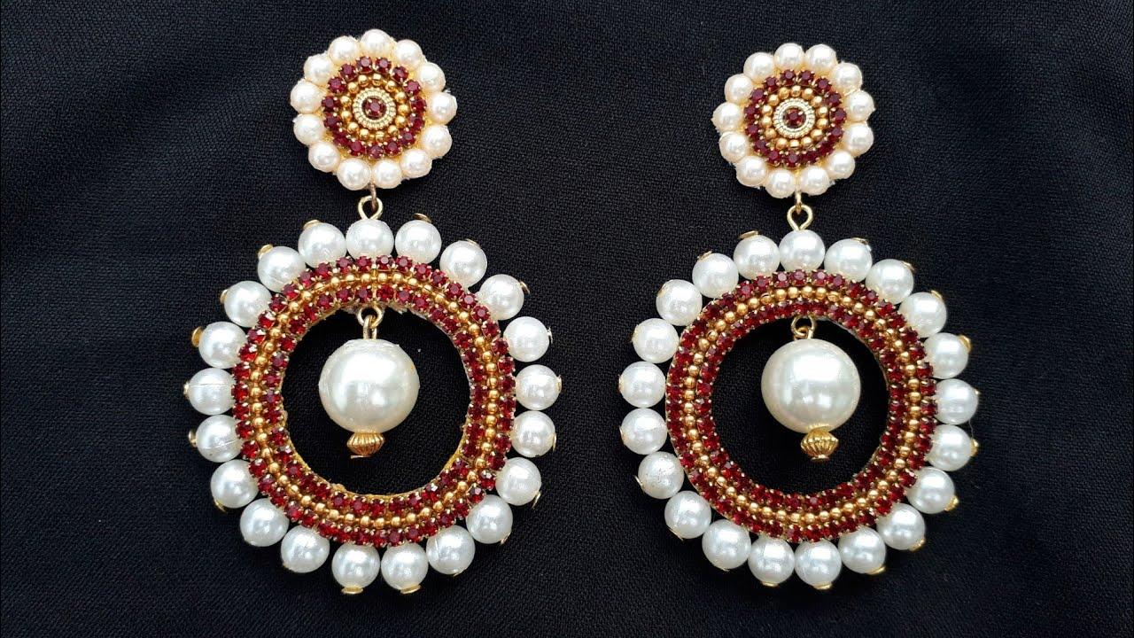 How To Make Designer Pearls Earrings DIY chandibali Earrings