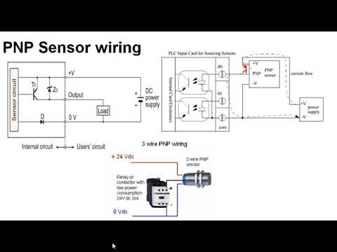 npn and pnp sensor wiring to plc youtube rh youtube com PNP Sensors Wiring Diagrams 4 4 Wire Sensor Diagram