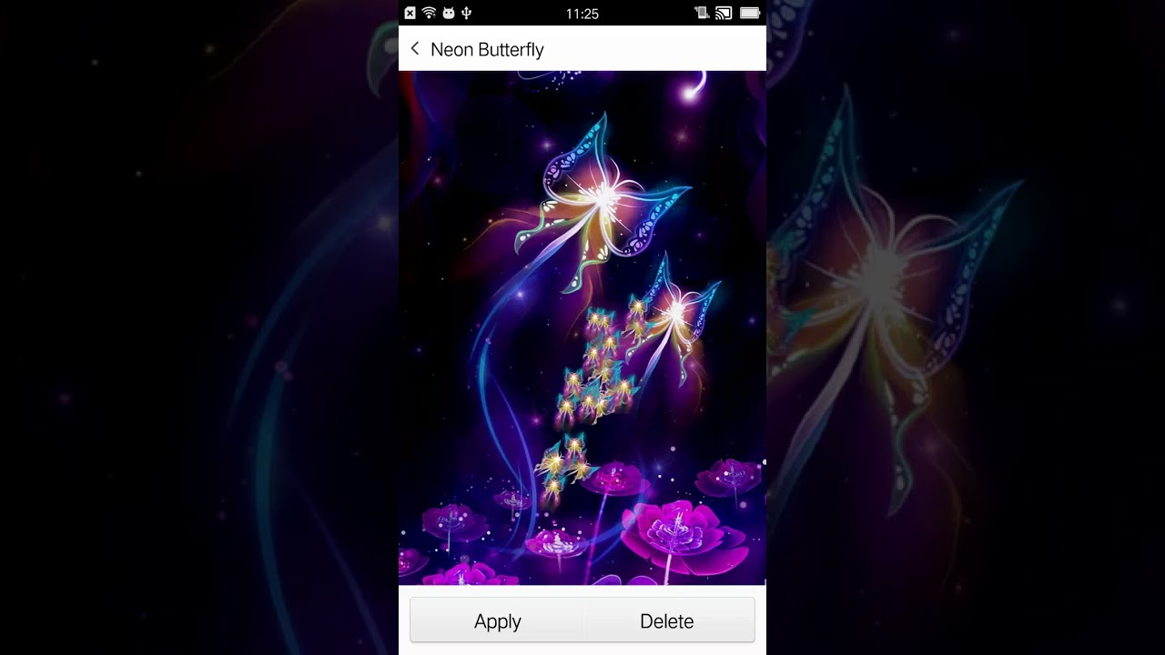 Neon Butterfly Live Wallpaper - YouTube