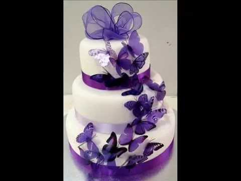 Wedding Cakes Purple Flowers