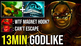 MOST ACCURATE HOOKS EVER!!! Crazy 13Min Godlike Pudge 7.24 Dota 2