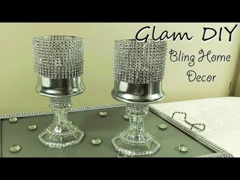 Dollar Tree DIY Glam Bling Pedestal Candle Holders