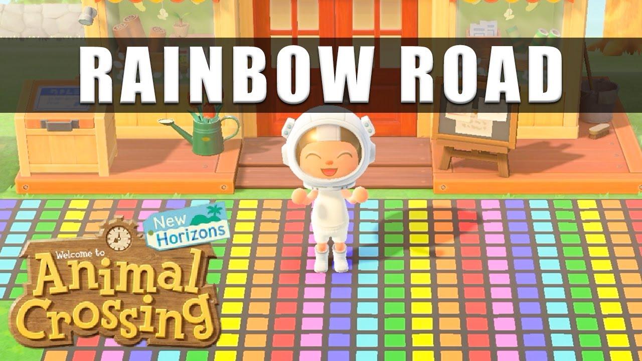 Animal Crossing New Horizons Rainbow Road custom design paths