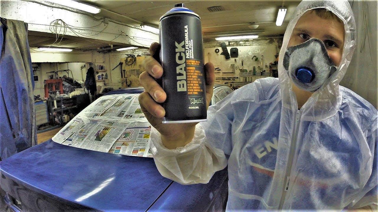 ВАЗ 2108 экспорт. Покраска краской Montana black 6180 drops - YouTube