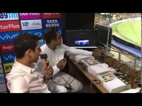 Akash Chopra & Ashish Nehra Commentary Behind The Scenes . View from Commentry Box