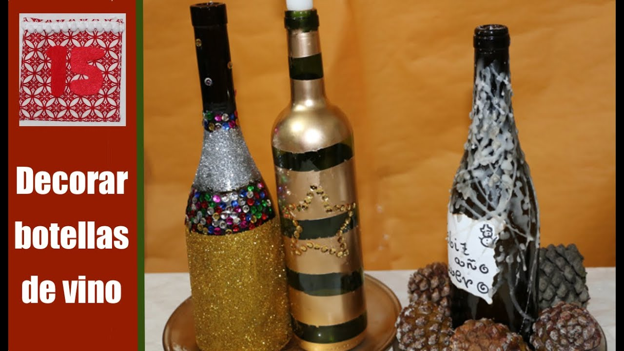 Como Decorar Botellas Para Hacer Candelabros Youtube - Decorar-botellas