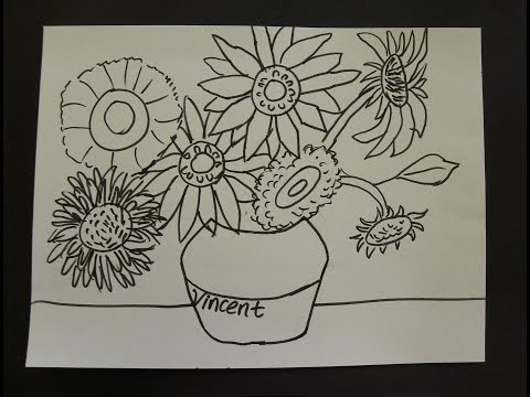 kids-can-draw:-vincent-van-gogh-sunflowers-with-first-grade-art-students.