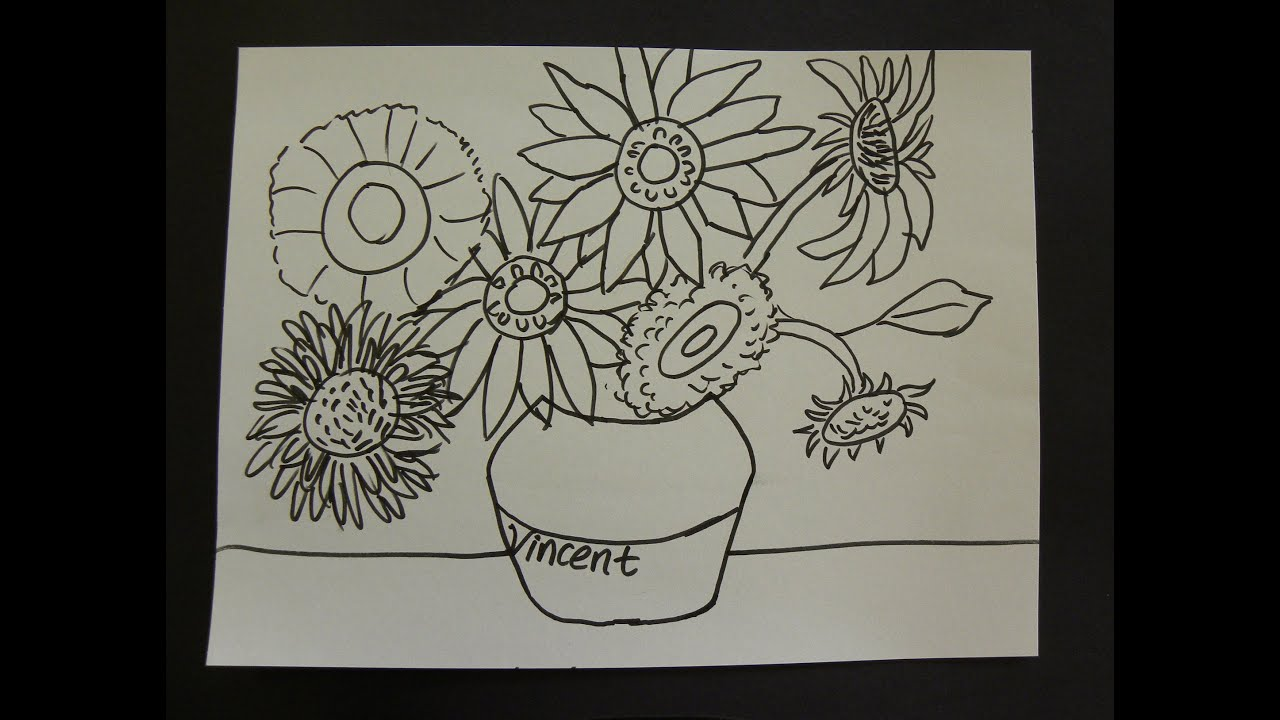 Flower Child Line Drawing : Kids can draw vincent van gogh sunflowers with first grade art