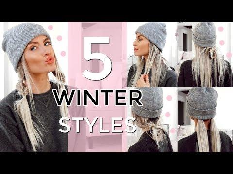 5 HEATLESS WINTER HAT HAIRSTYLES - EASY & QUICK! | LYSSRYANN - YouTube