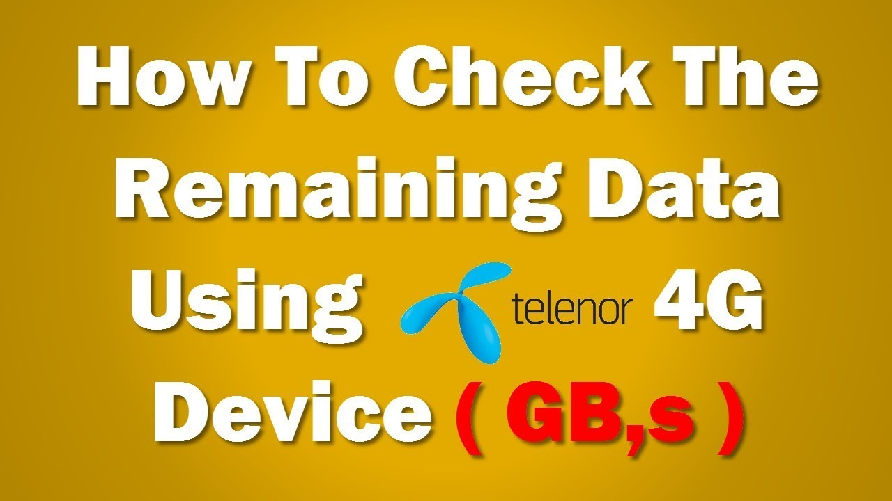 How To Check The Remaining Data L Telenor L Mbs And Gbs L Youtube