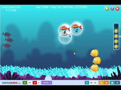 Under water typing - Learn to type with fish, cartoon for baby