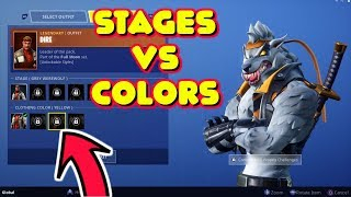DIRE SKIN CLOTHING COLORS ON DIFFERENT WEREWOLF STAGES IN FORTNITE