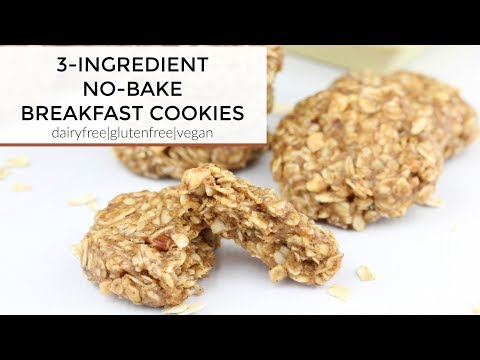 3-Ingredient No-Bake Almond Butter Breakfast Cookies | A Vegan, Dairy Free, + Gluten Free Recipe