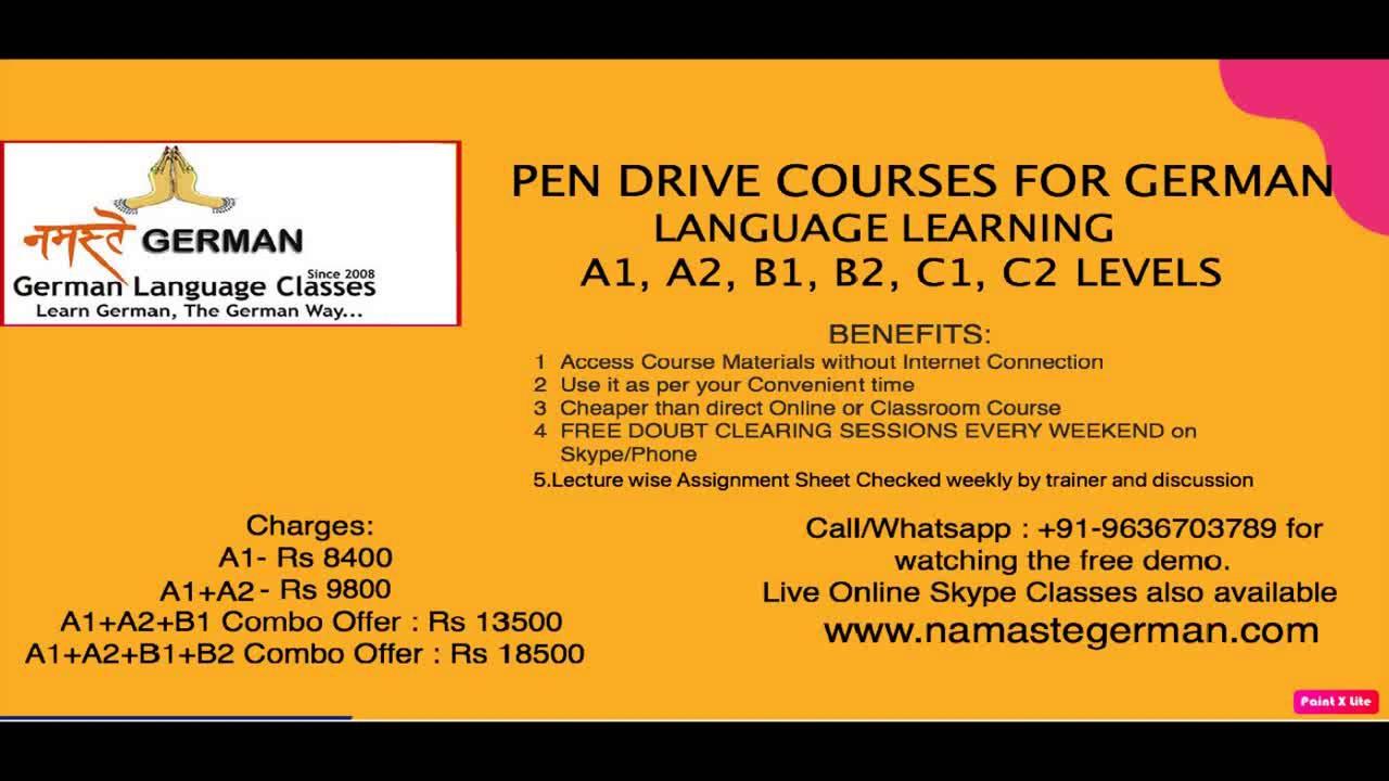 German For Beginners A1 A2 B1 B2 C1 Levels. Online Classes, Pendrive Classes WHATSAPP +91-9636703789
