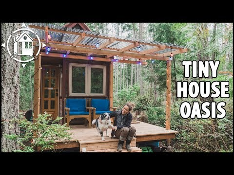 She Built a TINY HOUSE with Covered Porch in the Woods