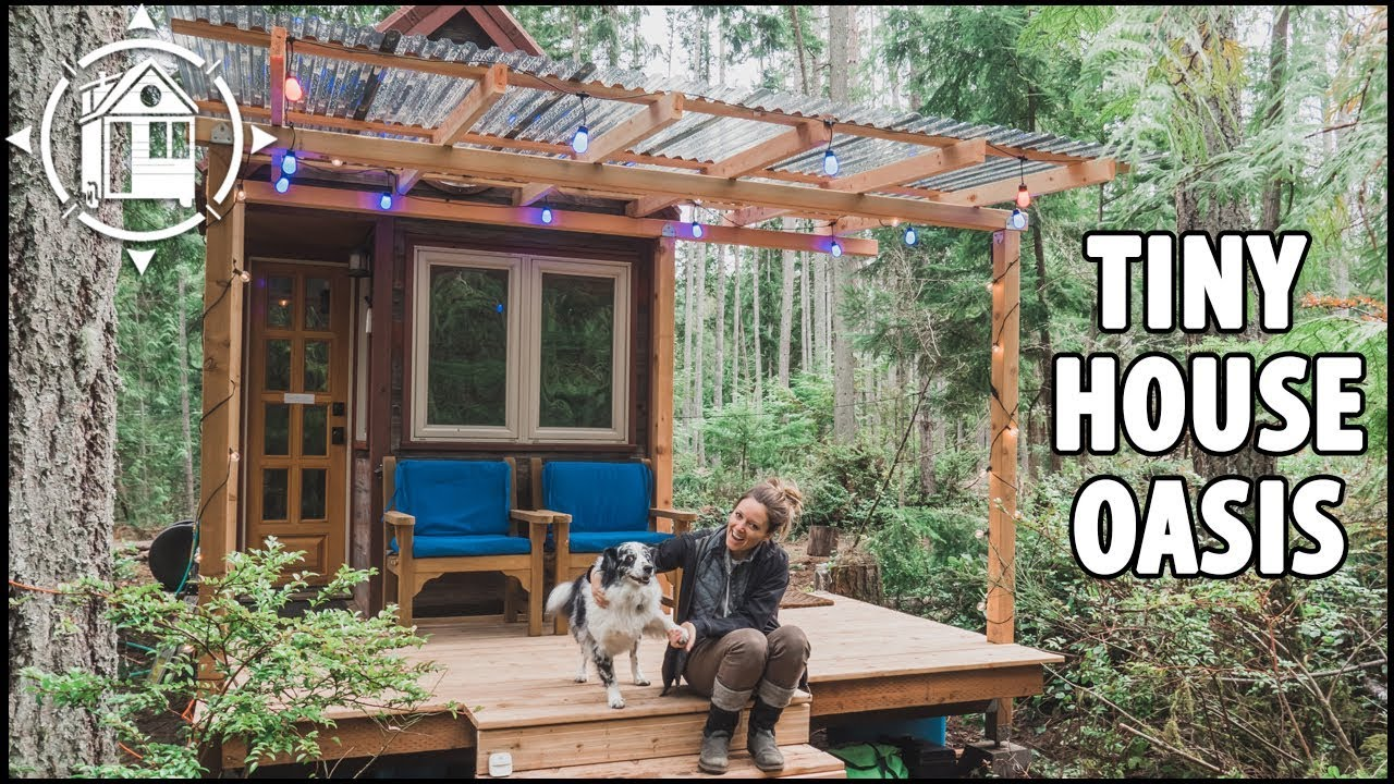 We Built A Covered Porch For Our Tiny House In The Woods Youtube