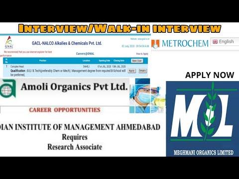 GACL, Meghmani Organics, MetroChem, Amoli Organic, NBFGR || Interview || Multiple department