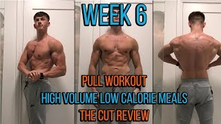 WEEK 6 | PULL WORKOUT | HIGH VOLUME LOW CALORIE MEALS FOR CUTTING | REVIEWING PROGRESS