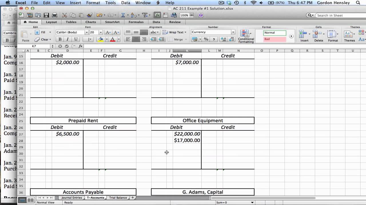 T Accounts Template Excel. excel 10 column worksheet with formulas ...