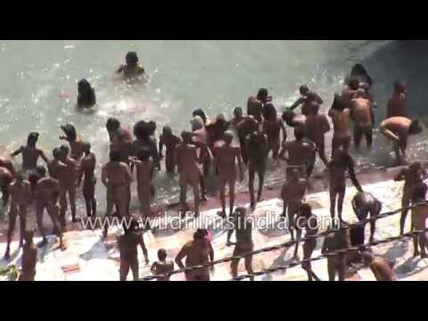Naga sadhus taking sacred dip in river Ganges: Kumbh mela