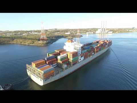 Aerial View - Container Ship BREVIK BRIDGE Departing Port of Halifax (May 18, 2018)