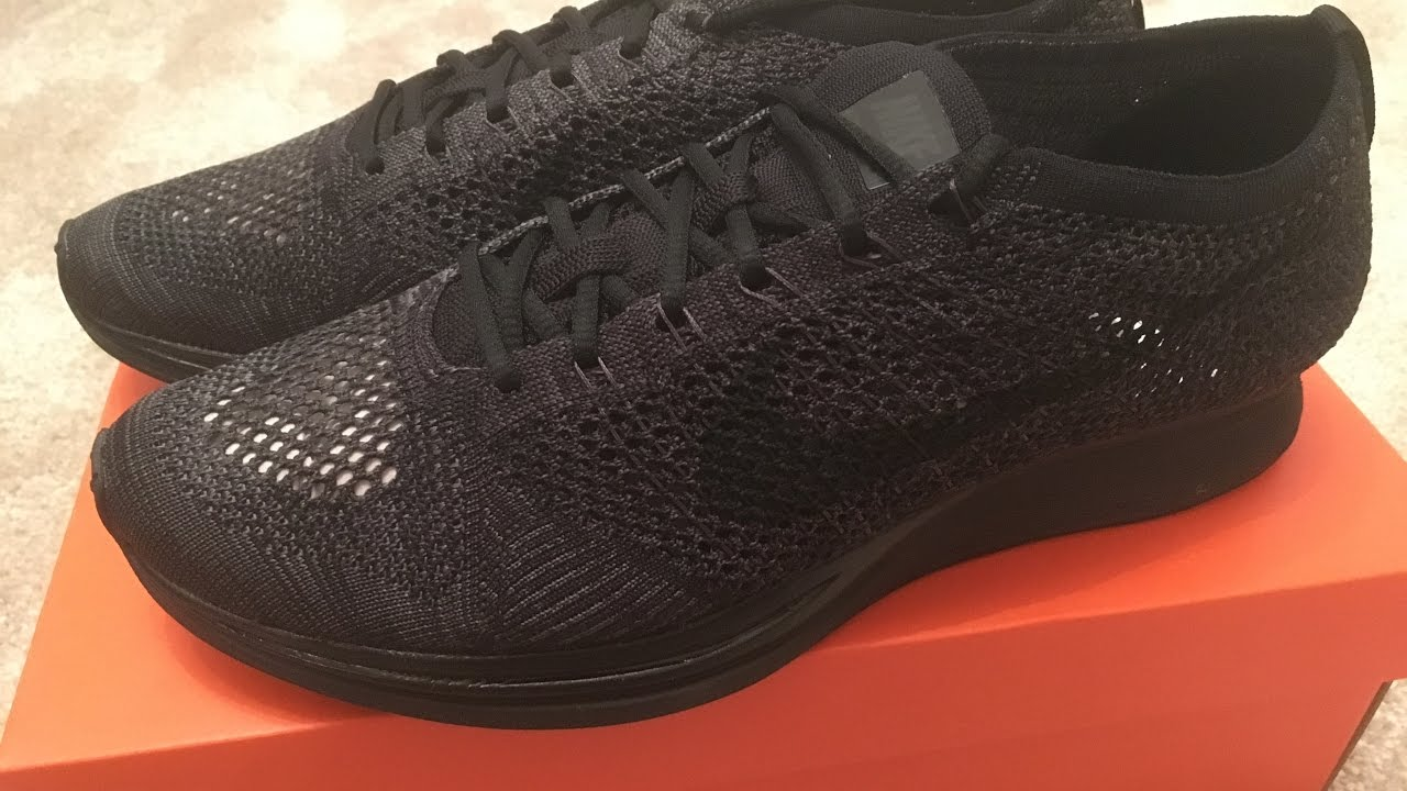 409992334344 Unboxing Nike Flyknit Racer Midnight Black