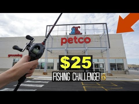 $25 Pet Store Fishing Challenge!! (Got in trouble)