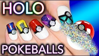 Pokemon Pokeball Nail Art turned HOLO! SQUIRTLE SQUIRTLE!!