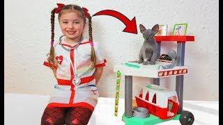 Dominika pretend Play animals Hospital video for kids