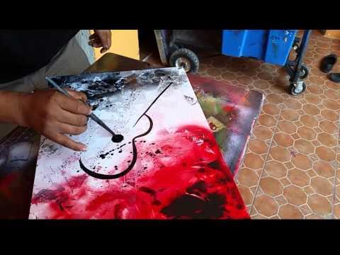 Guitar abstract spray art