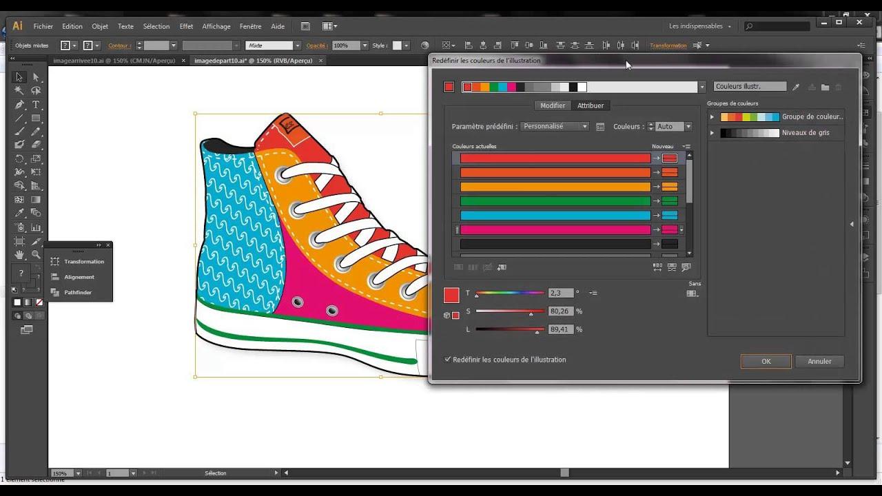 8 Modifier Les Couleurs D Une Illustration Adobe Illustrator Youtube