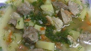 Суп с жареным мясом и булгуром//Быстрый и очень вкусный суп//Суп с мясом