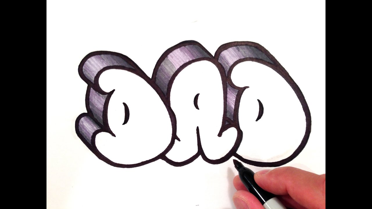 how to draw dad in 3d bubble letters youtube