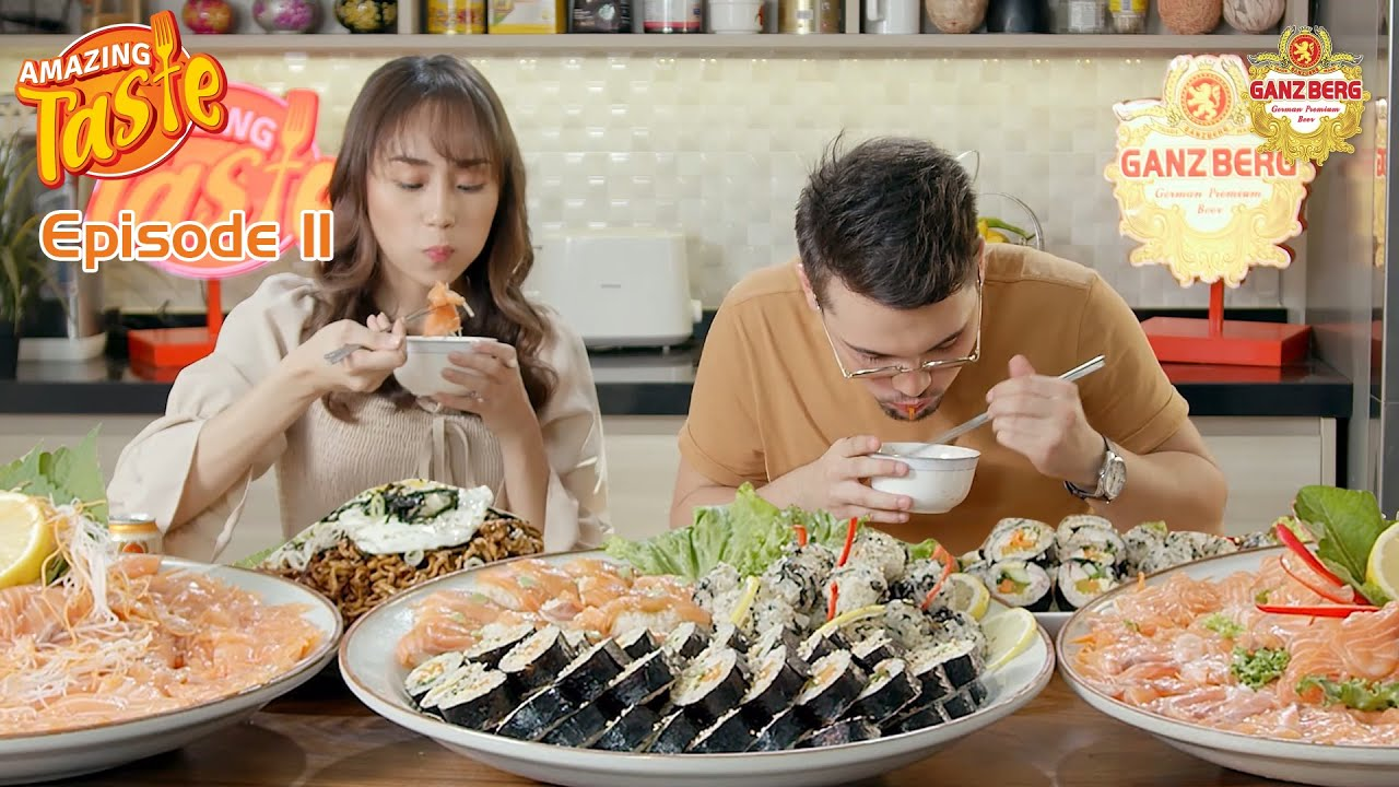 Mukbang with Ganzberg Beer) Eat Salmon & California rolls | AmazingTasteEp11