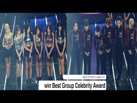 AOA & VIXX win Best Group Celebrity Award@161116 Rock Music