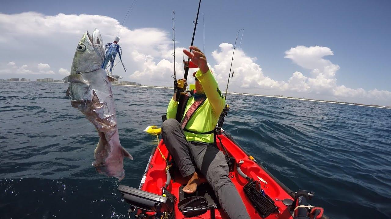 Kayak fishing offshore hobie outback kingfish youtube for Offshore kayak fishing