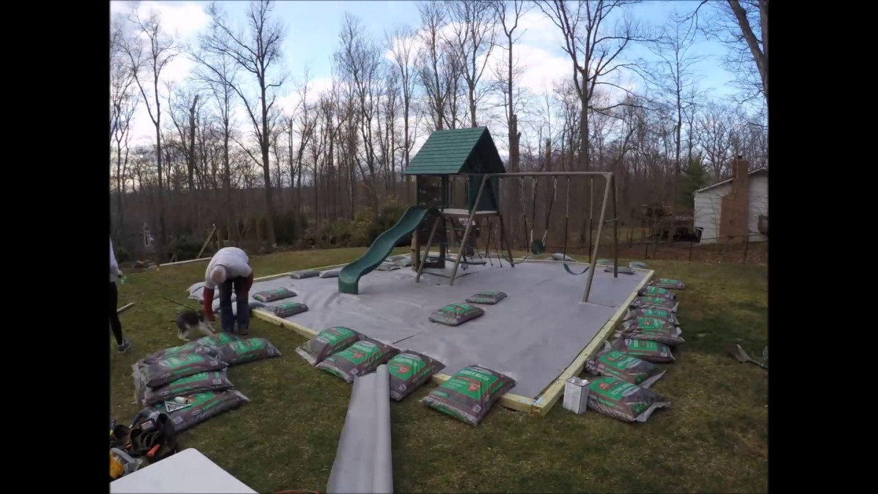 Wood Border And Rubber Mulch Around The Playset Youtube