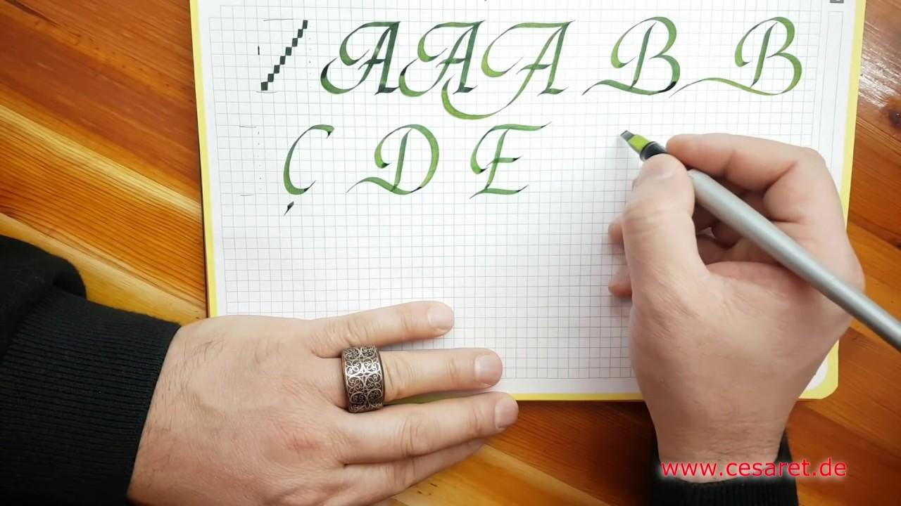 Kaligrafi büyük harf teknikleri  6.ders harfleri (ABÇDEF)