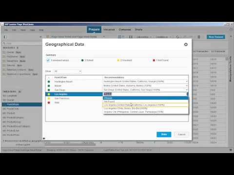 Create a geographic hierarchy based on location names  SAP Lumira 1 17