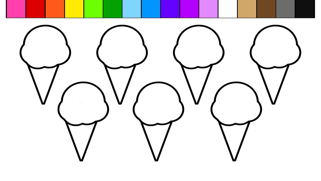 learn colors for kids and color this 7 ice cream and rainbow