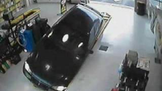 Funny Stupid Woman Car Crash Accident oil station