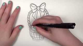 Draw A Cute Pretty Easter Basket With Eggs -- iCanHazDraw!