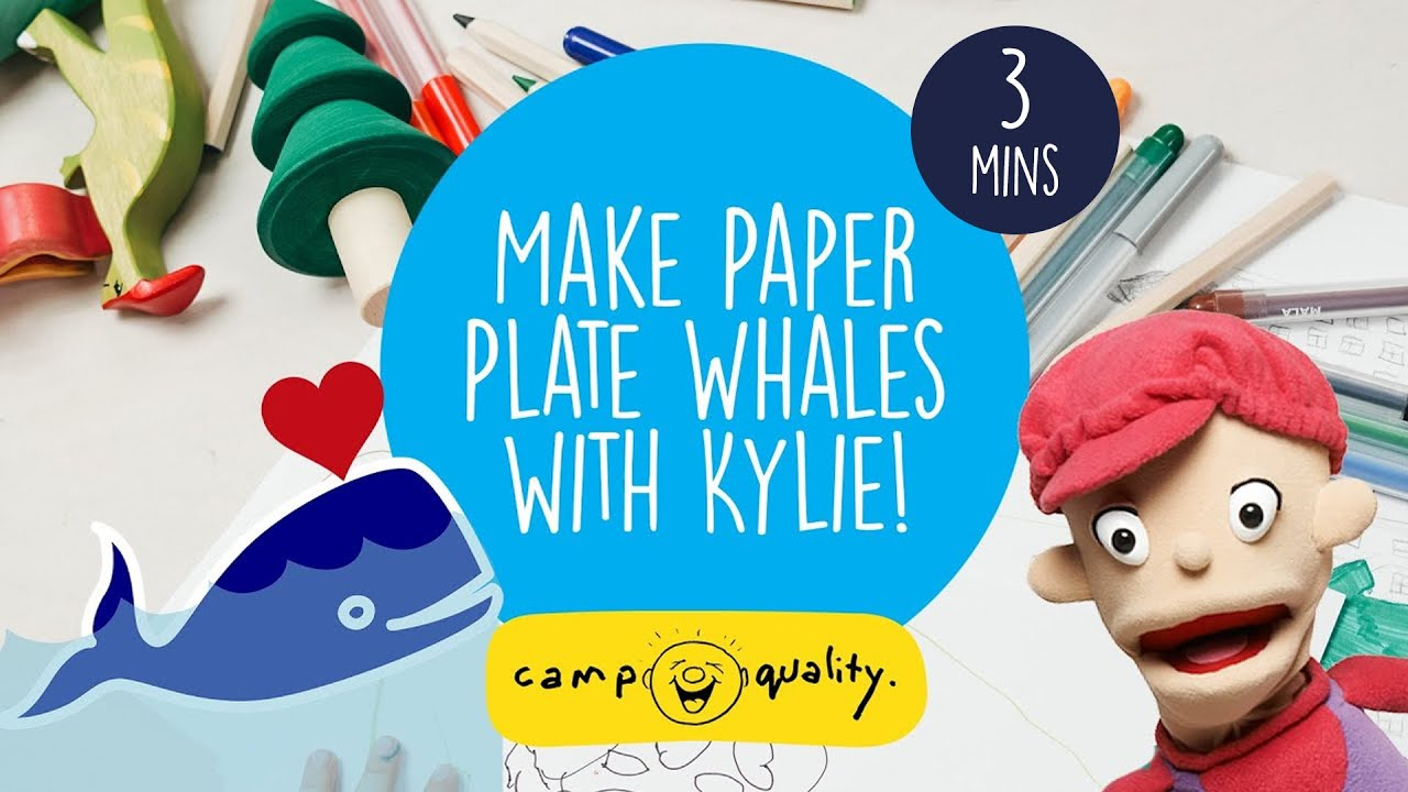 Making Paper Plate Whales With Kylie The Camp Quality Puppet - Fun Kids' Craft!