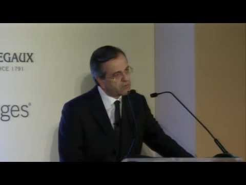 Prime Minister Antonis Samaras speaks at The IHT Global Conversation