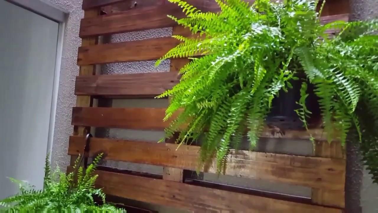 Palete no Jardim de Inverno #DIY #renovando o jardim YouTube -> Decoração Para Jardins Com Paletes