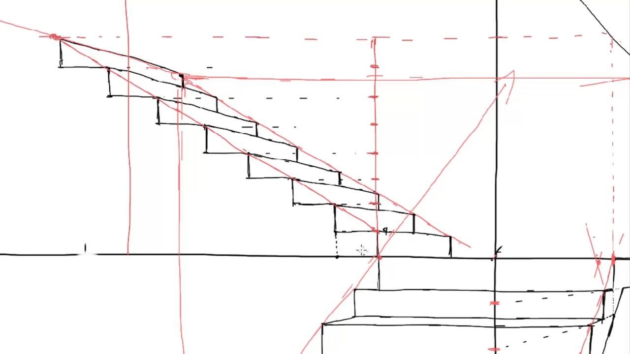 Lecci n 2 1 escalera de dos 2 tramos con un punto de fuga parte 2 youtube - Escalera dos tramos ...