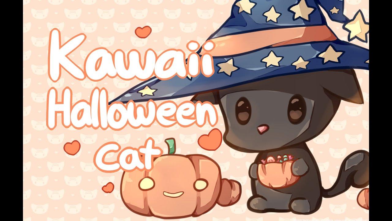 Kawaii Halloween Cat   Speed Paint - YouTube