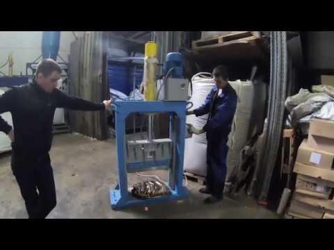 Гильотина гидравлическая ГГР 600 на прессованной PET пивной кеге - видео 1