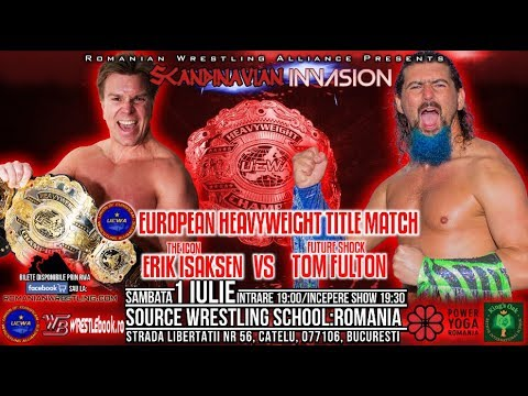 RWA-TV #12 UEWA EUROPEAN TITLE MATCH : Erik Isaksen vs Tom Fulton - Romanian Wrestling Alliance